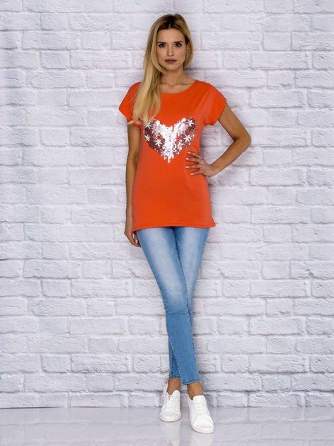 T-shirt z cekinowym sercem i kwiatkami pomarańczowy                              zdj.                              4