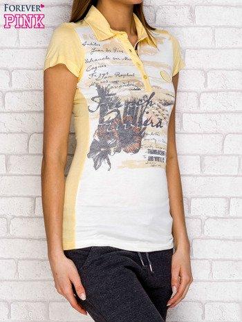 Koszulka polo z nadrukiem jasnożółty                              zdj.                              3