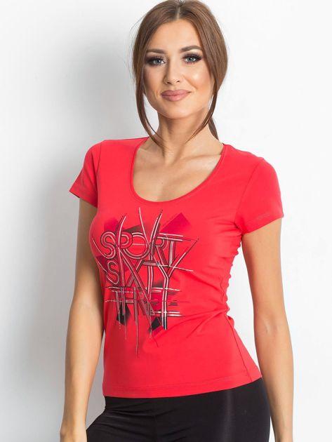 T-shirt  z nadrukiem ciemnokoralowy