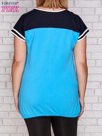 T-shirt z nadrukiem turkusowy PLUS SIZE