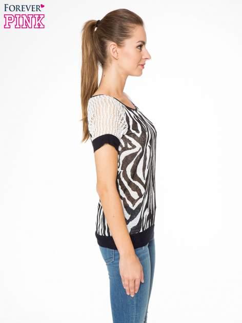 T-shirt z nadrukiem zebry i ażurowymi rękawami                                  zdj.                                  3