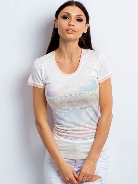 T-shirt z pastelowym nadrukiem jasnoróżowy                              zdj.                              1
