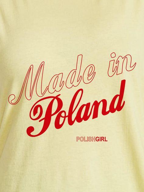 T-shirt z patriotycznym nadrukiem MADE IN POLAND żółty                              zdj.                              2