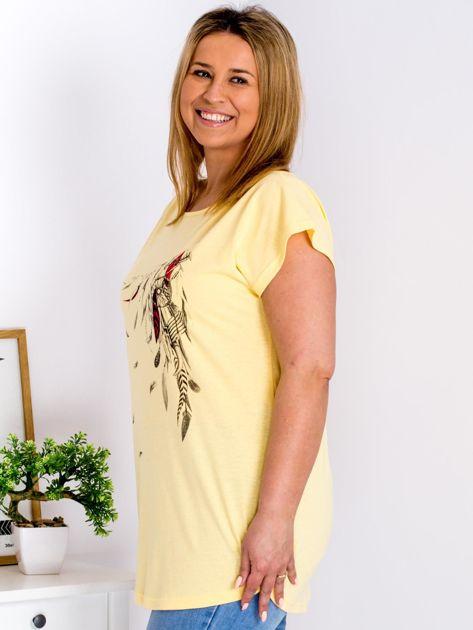 T-shirt żółty z nadrukiem boho PLUS SIZE                                  zdj.                                  5