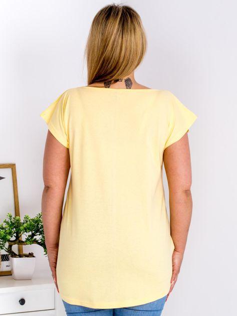 T-shirt żółty z nadrukiem boho PLUS SIZE                                  zdj.                                  2