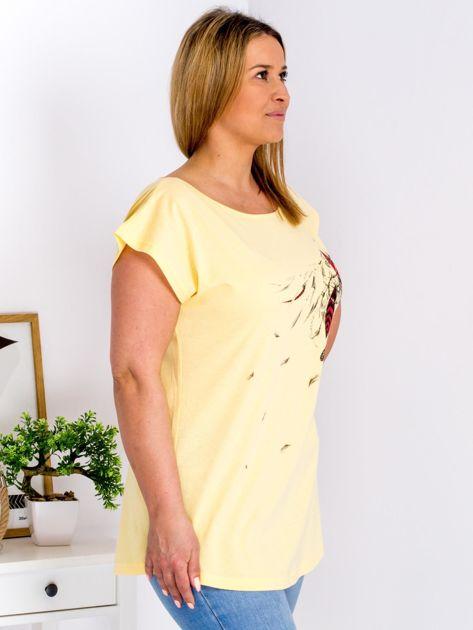 T-shirt żółty z nadrukiem boho PLUS SIZE                                  zdj.                                  3