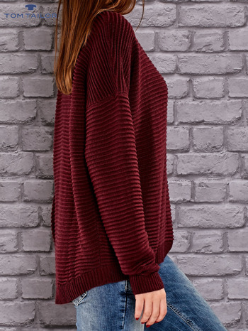 TOM TAILOR Bordowy prążkowany sweter                                  zdj.                                  2