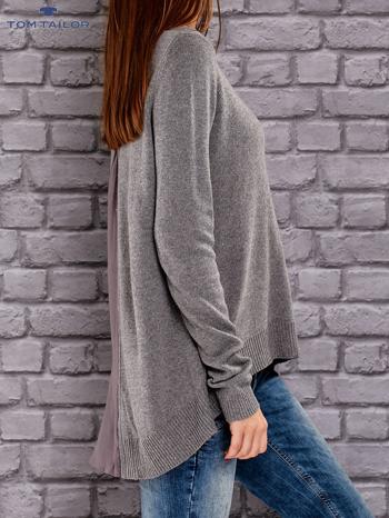TOM TAILOR Ciemnoszary sweter z materiałową wstawką z tyłu                                  zdj.                                  2