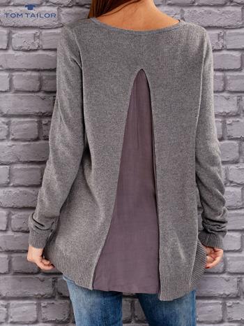 TOM TAILOR Ciemnoszary sweter z materiałową wstawką z tyłu                                  zdj.                                  3