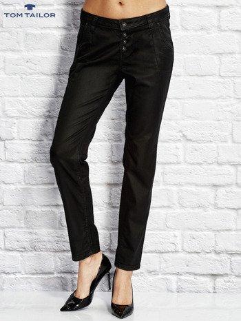 TOM TAILOR Czarne spodnie regular z przeszyciami                                  zdj.                                  1