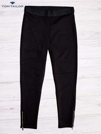 TOM TAILOR Czarne spodnie z przeszyciami i suwakami                                  zdj.                                  1
