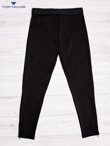 TOM TAILOR Czarne spodnie z przeszyciami i suwakami                                  zdj.                                  2