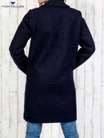 TOM TAILOR Granatowy dwurzędowy wełniany płaszcz