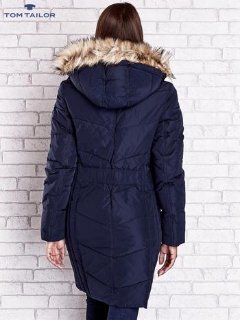 TOM TAILOR Granatowy płaszcz z futrzanym kapturem                                  zdj.                                  5