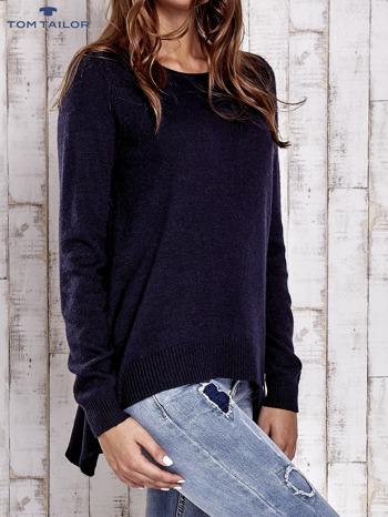 TOM TAILOR Granatowy sweter z materiałową wstawką z tyłu                                  zdj.                                  3