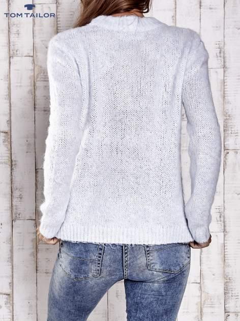 TOM TAILOR Niebieski sweter z dodatkiem wełny z alpaki                                  zdj.                                  4