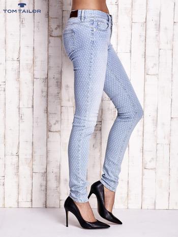 TOM TAILOR Niebieskie spodnie jeansowe z delikatnym printem