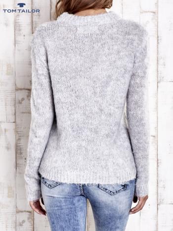 TOM TAILOR Szary sweter z dodatkiem wełny z alpaki                                  zdj.                                  4