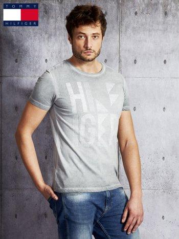 TOMMY HILFIGER Szary dekatyzowany t-shirt męski                              zdj.                              3