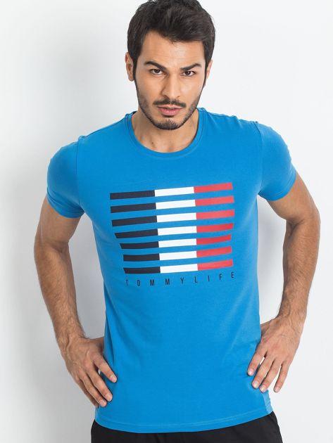 TOMMY LIFE Niebieski t-shirt męski z nadrukiem