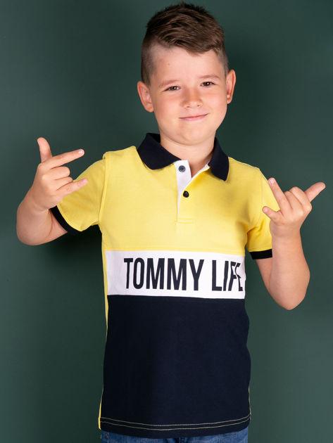 TOMMY LIFE Żółto-granatowa koszulka polo dla chłopca