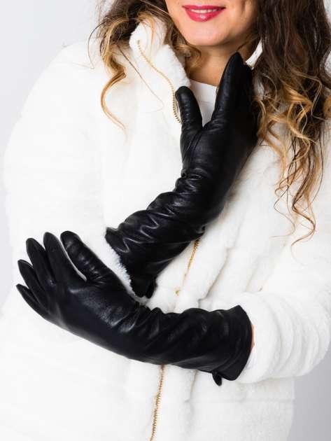 TRENDY Eleganckie długie czarne skórzane zimowe rękawiczki damskie