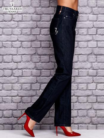 TRUSSARDI Granatowe spodnie jeansowe o prostym kroju                                  zdj.                                  3