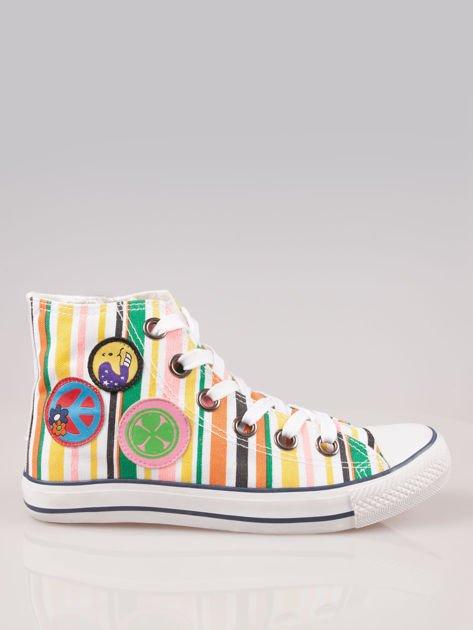 Trampki za kostkę w kolorowe paski w stylu hippie Flower Power                                  zdj.                                  1