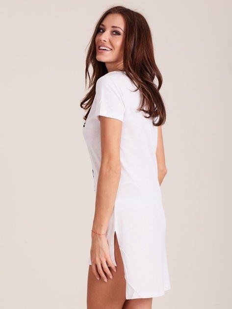 Tunika bawełniana SIMPLICITY z nadrukiem biała                                  zdj.                                  3