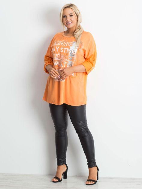 Tunika plus size z nadrukiem pomarańczowa                              zdj.                              4