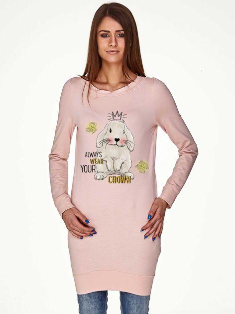 Tunika z królikiem i zabawnym napisem jasnoróżowa