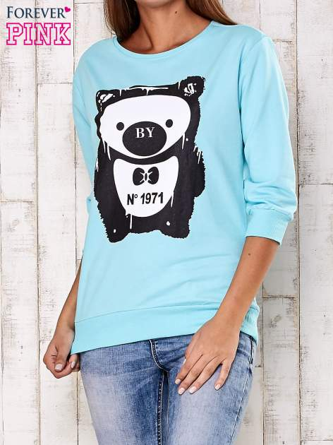 Turkusowa bluza z nadrukiem pandy                                  zdj.                                  1