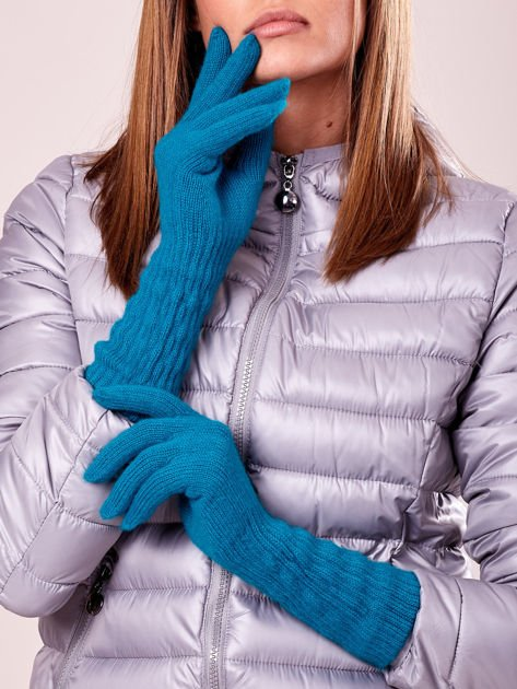 Turkusowe długie rękawiczki z drapowanym rękawem                                  zdj.                                  3
