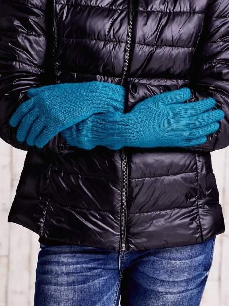 Turkusowe długie rękawiczki z fantazyjnie przeszywanym ściągaczem                                  zdj.                                  2