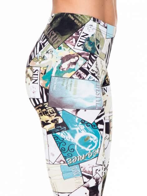 Turkusowe legginsy z nadrukiem magazines print                                  zdj.                                  6