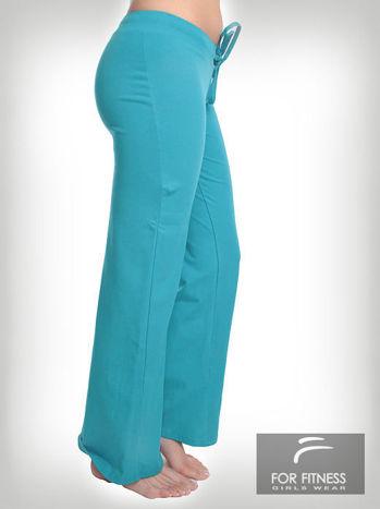 Turkusowe spodnie dresowe z szeroką nogawką FOR FITNESS                                  zdj.                                  3