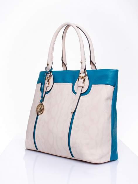 Wężowa torba shopper z niebieską wstawką                                  zdj.                                  2