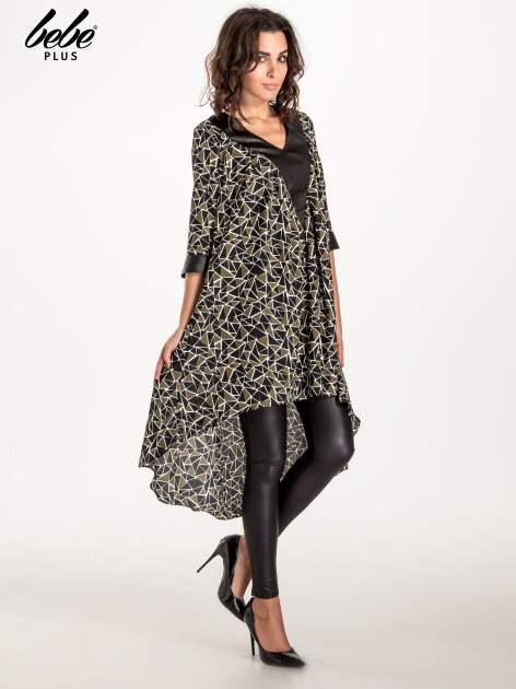 Wzorzysta sukienka mgiełka ze skórzanymi wstawkami                                  zdj.                                  3