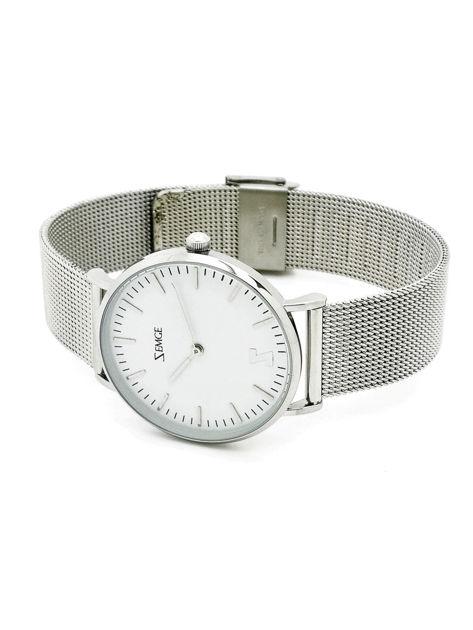 ZEMGE Zegarek damski srebrny na bransolecie typu MESH Eleganckie pudełko prezentowe w komplecie                              zdj.                              3