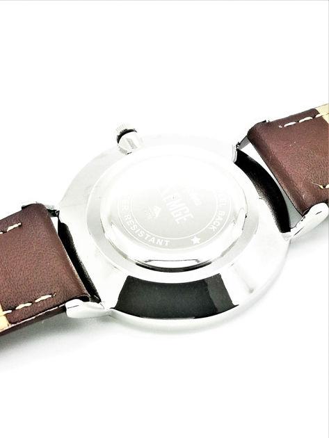 ZEMGE Zegarek damski srebrny na skórzanym brązowym pasku Eleganckie pudełko prezentowe w komplecie                              zdj.                              3