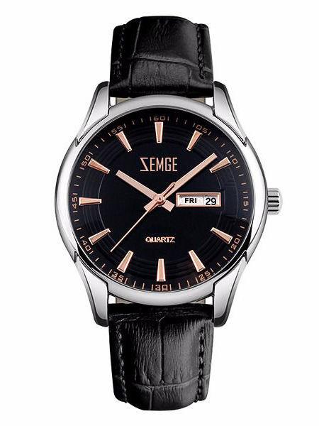 ZEMGE Zegarek męski srebrny na skórzanym czarnym pasku Eleganckie pudełko prezentowe w komplecie                              zdj.                              1