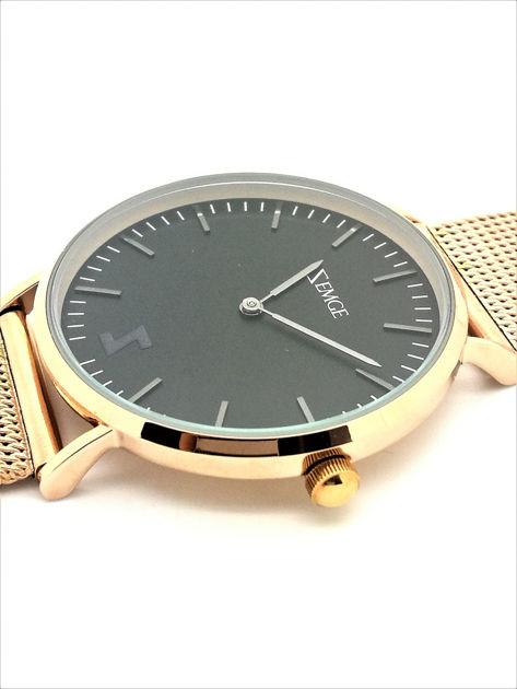 ZEMGE Zegarek unisex czarno-złoty na bransolecie typu MESH Eleganckie pudełko prezentowe w komplecie                              zdj.                              3