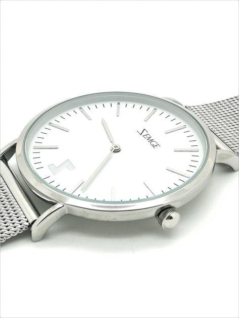 ZEMGE Zegarek unisex srebrny na bransolecie typu MESH Eleganckie pudełko prezentowe w komplecie                              zdj.                              2