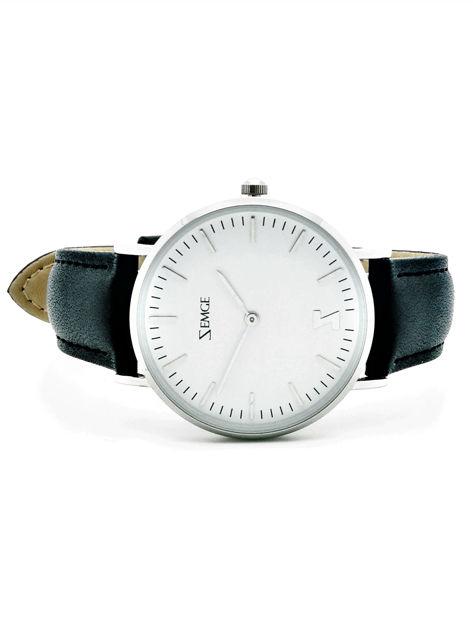 ZEMGE Zegarek unisex srebrny na skórzanym czarnym pasku Eleganckie pudełko prezentowe w komplecie                              zdj.                              2