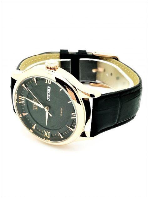 ZEMGE Zegarek unisex złoto-czarny na skórzanym czarnym pasku Eleganckie pudełko prezentowe w komplecie                              zdj.                              3