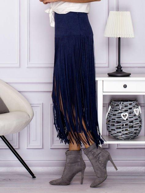 Zamszowa midi spódnica boho z frędzlami ciemnoniebieska                              zdj.                              5