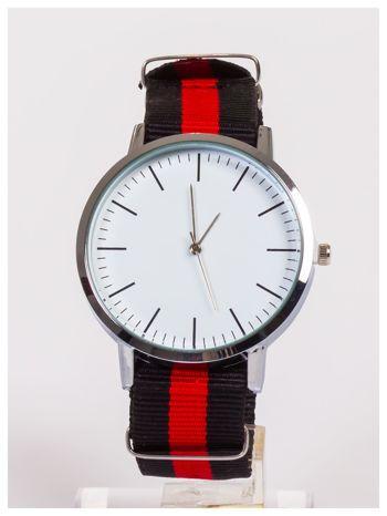 Zegarek damski/męski najmodniejszy w tym sezonie. Nylonowy pasek czarno-czerwony .Prosty w wymianie.