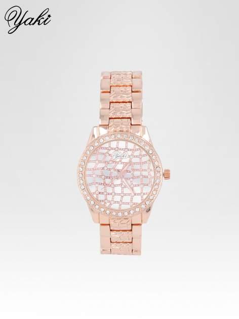 Zegarek damski na bransolecie z cyrkoniową kopertą z różowego złota                                  zdj.                                  1
