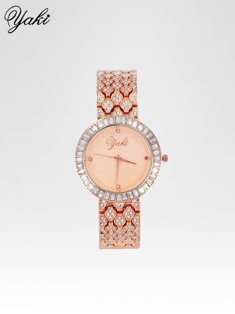 Zegarek damski na bransolecie z kryształową kopertą z różowego złota                                  zdj.                                  1