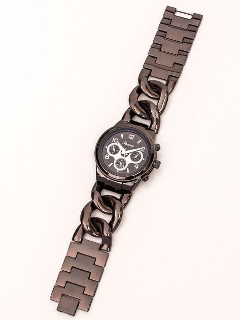 Zegarek damski na bransolecie z pancerką czarny z ozdobnym chronografem                               zdj.                              2